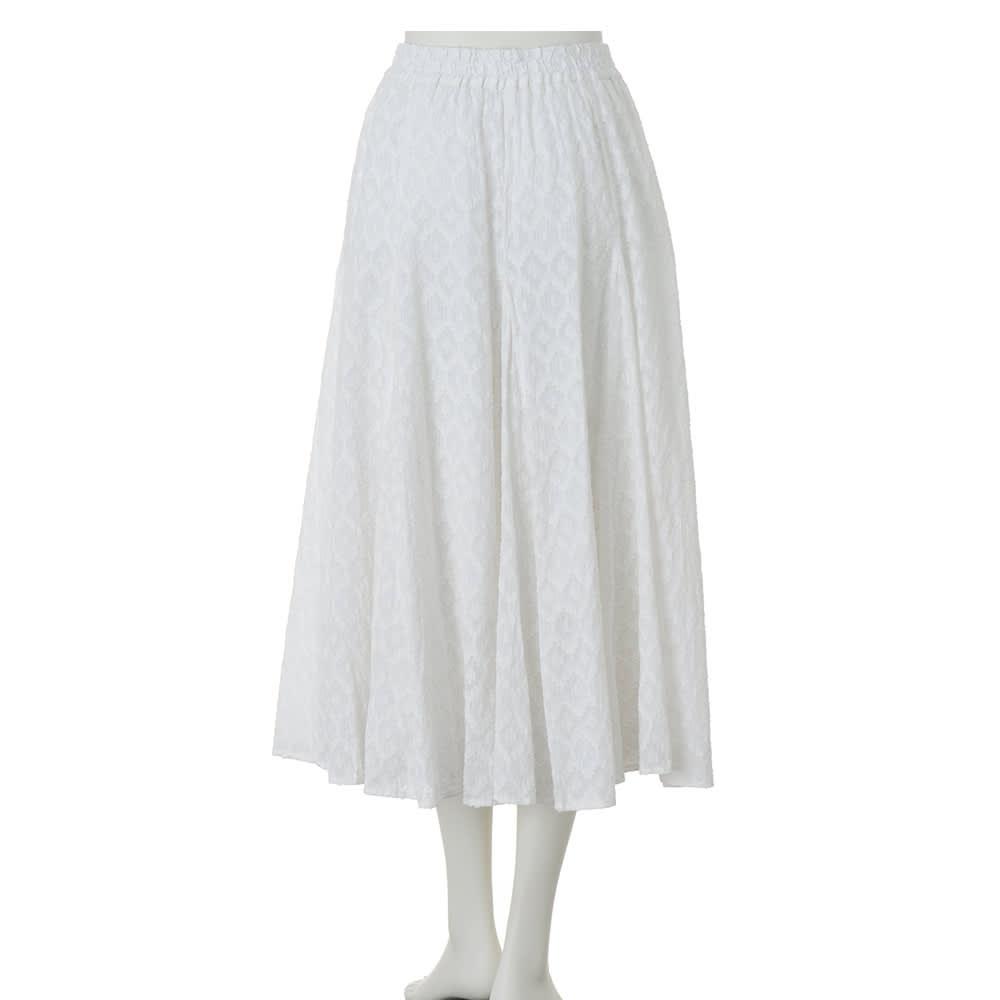 インド製 コットン混 カットジャカード フレアースカート