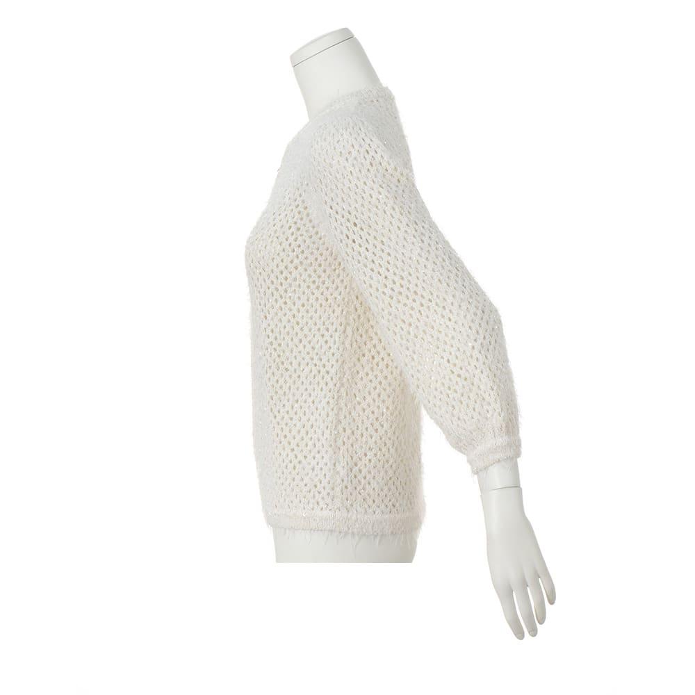 イタリア スパンコール糸使い メッシュ編み ブルゾン