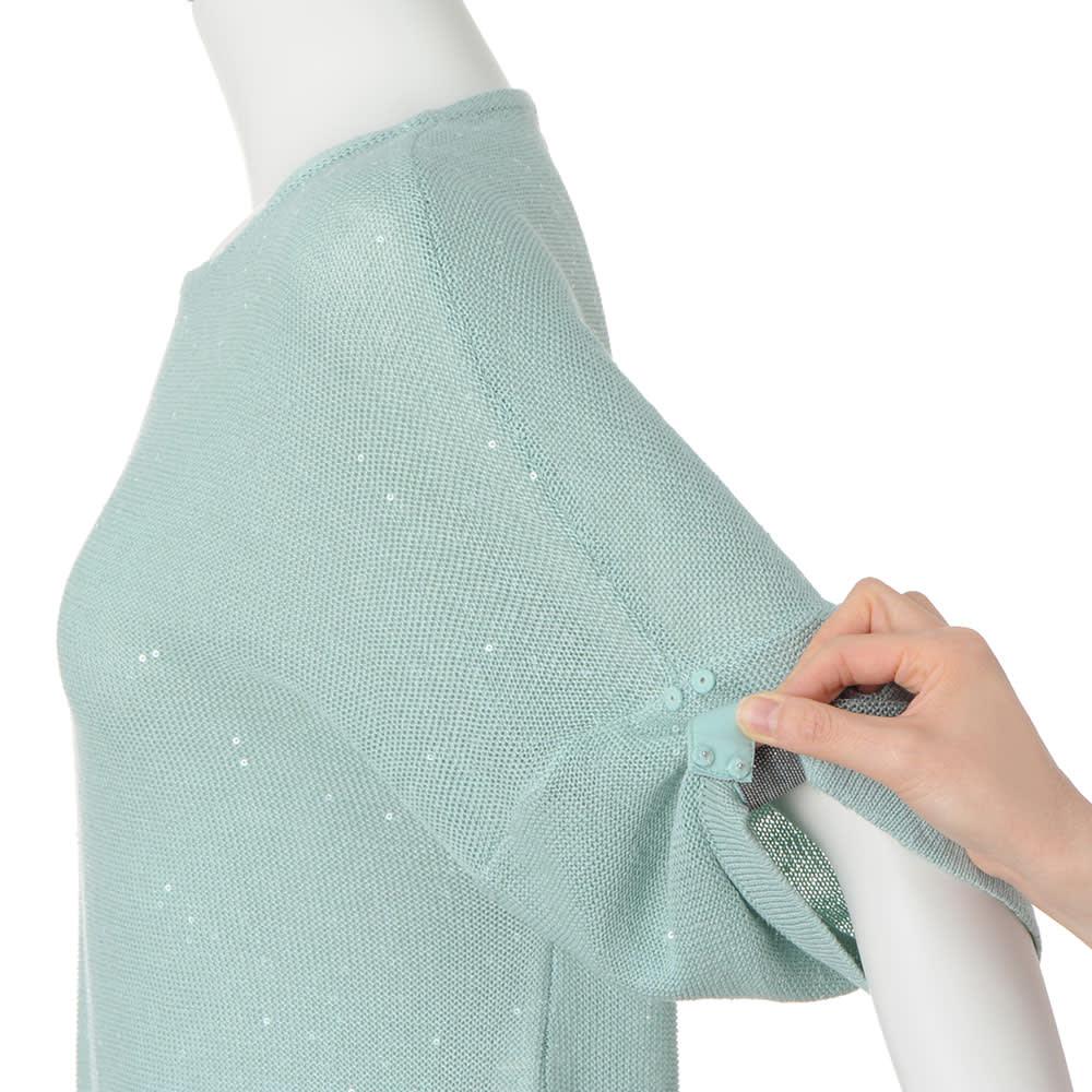 リネンシルク スパンコール糸使い 七分袖 チュニック