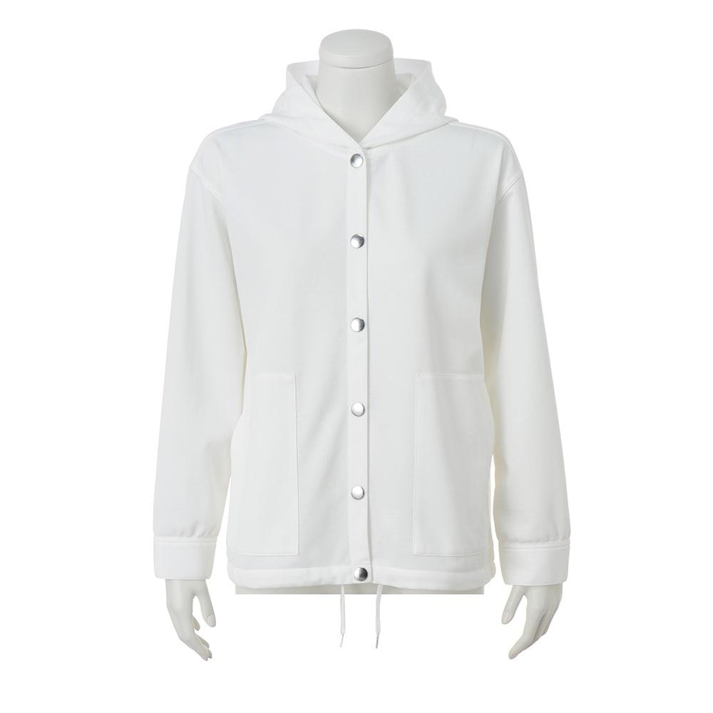ダブルフェイス素材 フーデッド ジャケット (ア)ホワイト