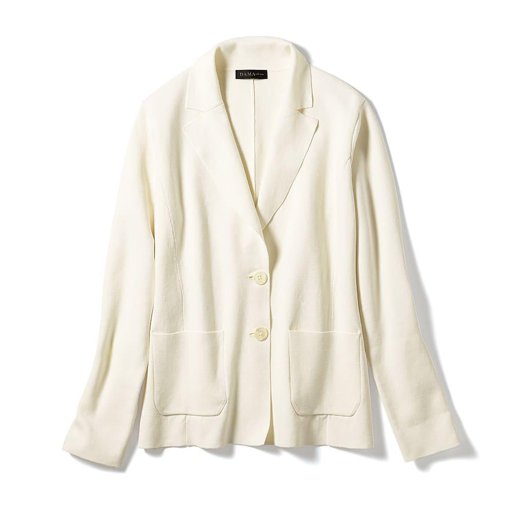 イタリア糸 「エミールコトーニ」 強撚コットン ミラノリブ ニットジャケット (イ)ホワイト