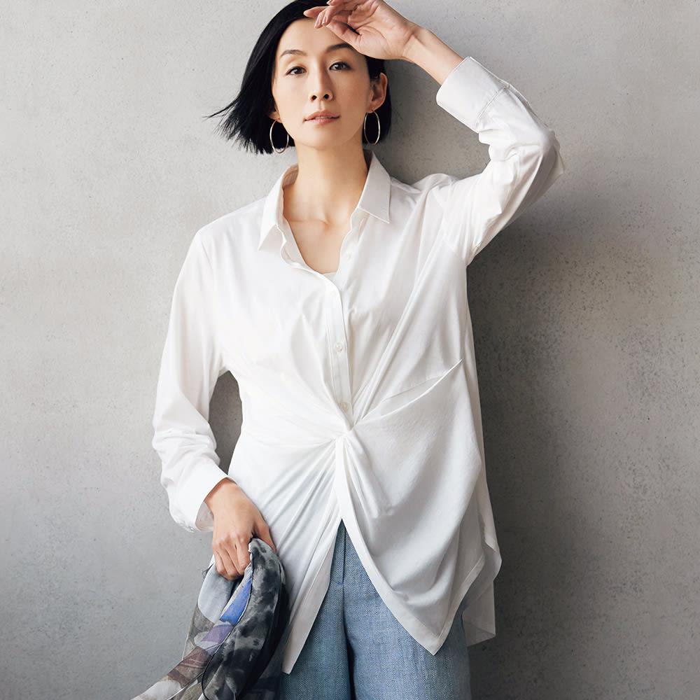 布帛使い マハラニ(R) 超長綿 ジャージー シャツ 着用例