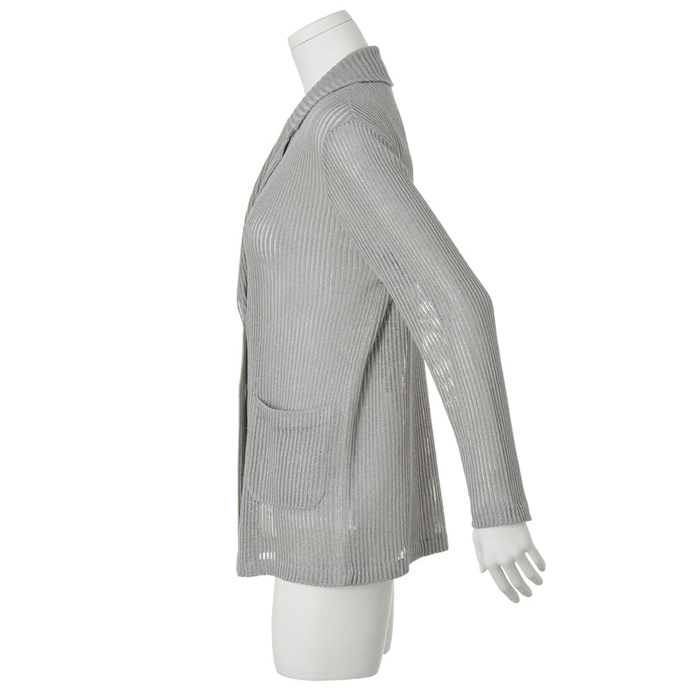 ラメ入り リネン 針抜き柄 ニットジャケット