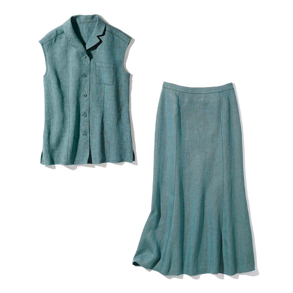 アイリッシュリネン セットアップ(ブラウス+スカート) ブラウス+スカート