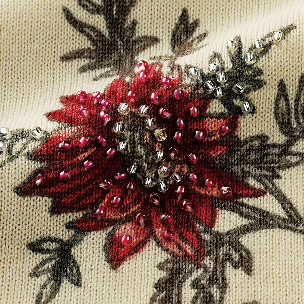 フラワープリント&ビーズ刺繍 カーディガン 刺繍部分