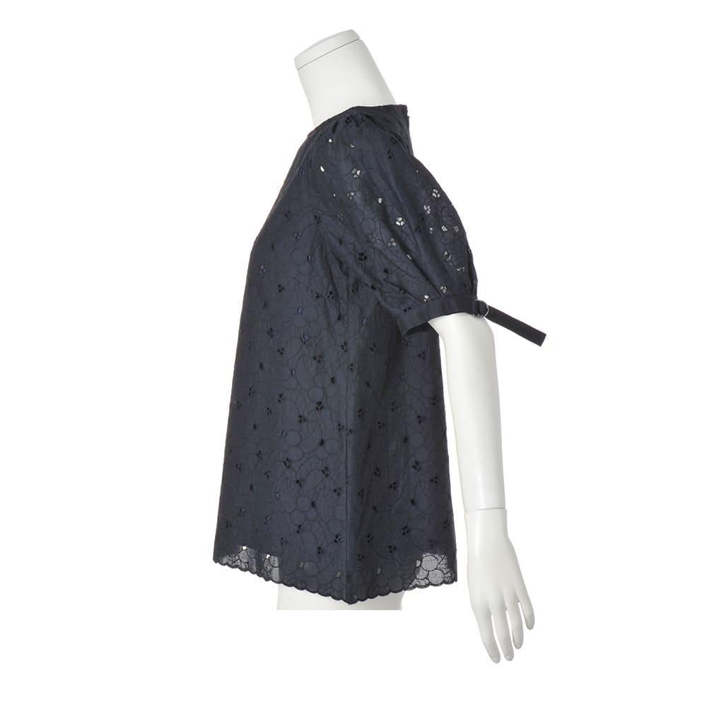 コットン カットワーク刺繍 パフスリーブ チュニック