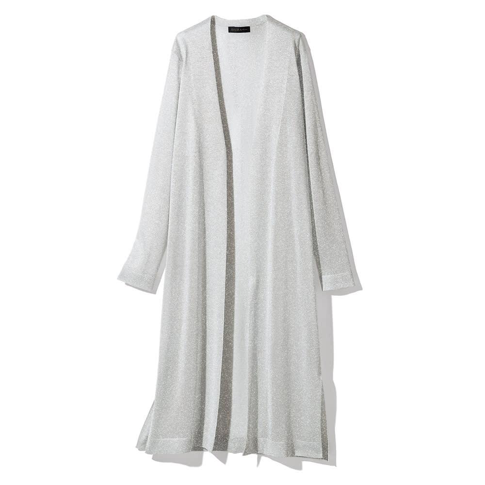 イタリア糸 ラメ糸使い ロングカーディガン (イ)ホワイト×シルバーラメ