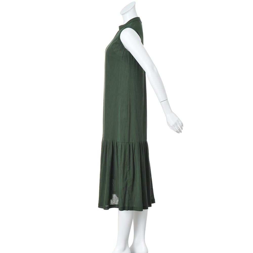 楊柳ジャージー 裾切り替え ロングワンピース