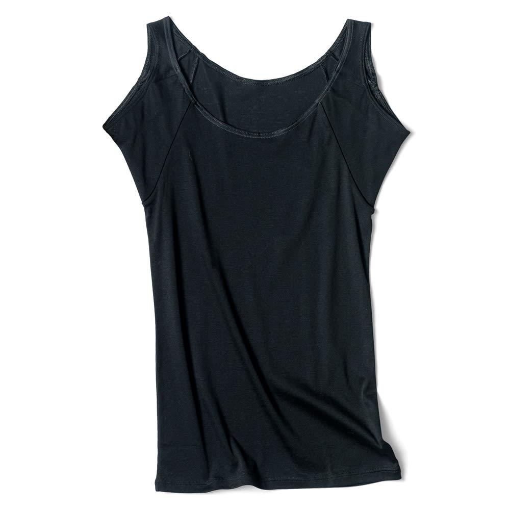 脇にフィットする汗取りインナー スリーブレス (ア)ブラック
