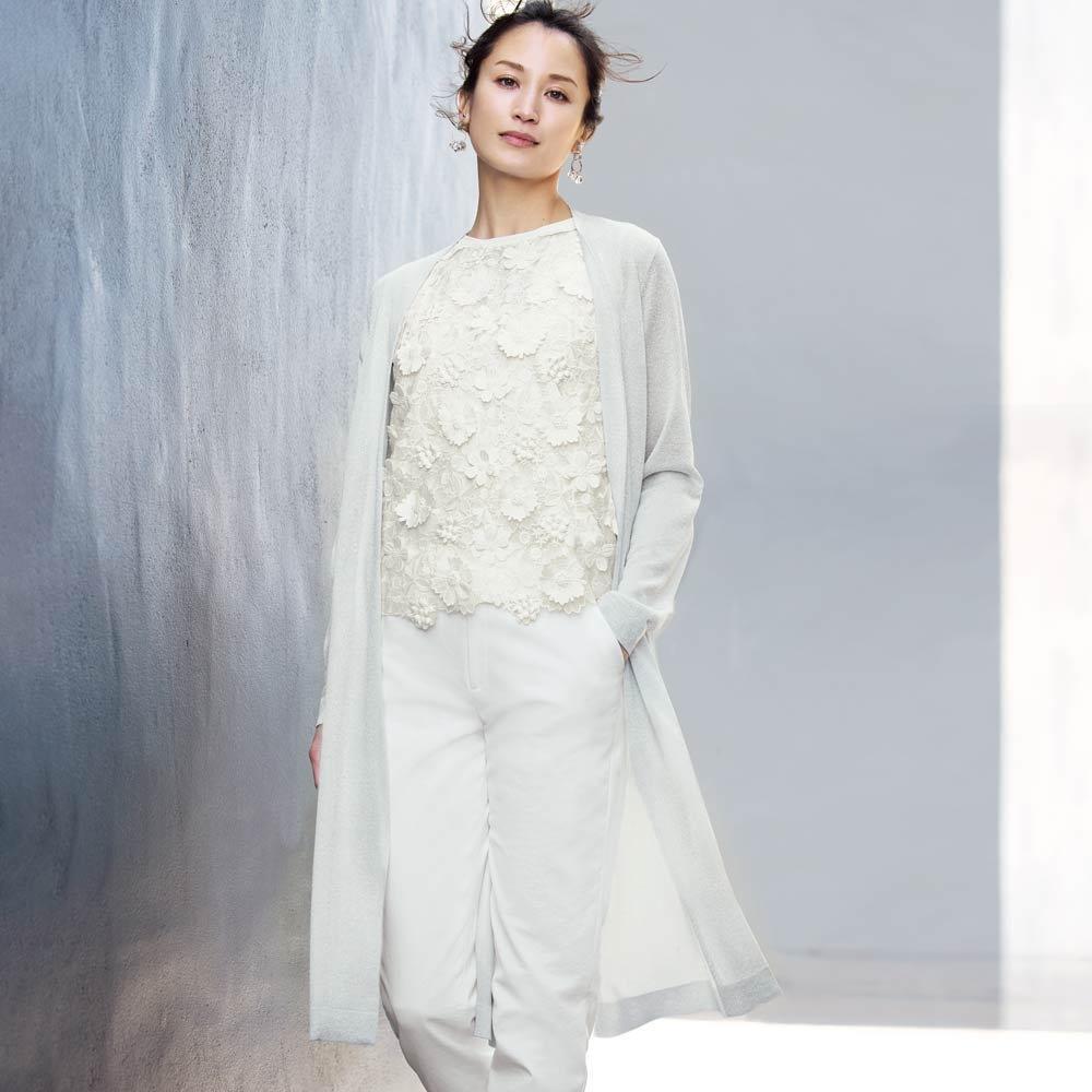イタリア糸 ラメ糸使い ロングカーディガン (イ)ホワイト×シルバーラメ コーディネート例