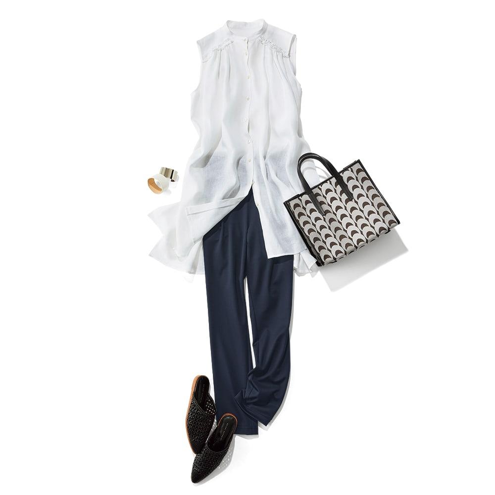 「NIKKE」 ハイゲージコットン スムースジャージー 九分丈 タックパンツ コーディネート例 /ロングトップス&パンツでお洒落感度の高さを香らせて