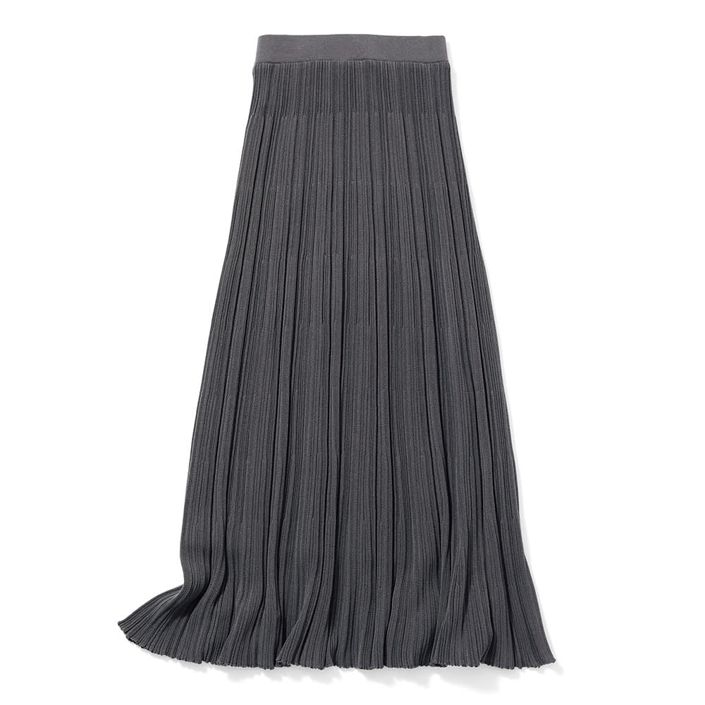 コットン混 ランダムガーター編み ロングスカート