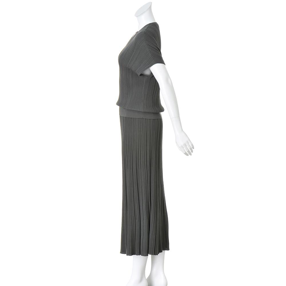 コットン混 ランダムガーター編み セットアップ(Vネックプルオーバー+ロングスカート)