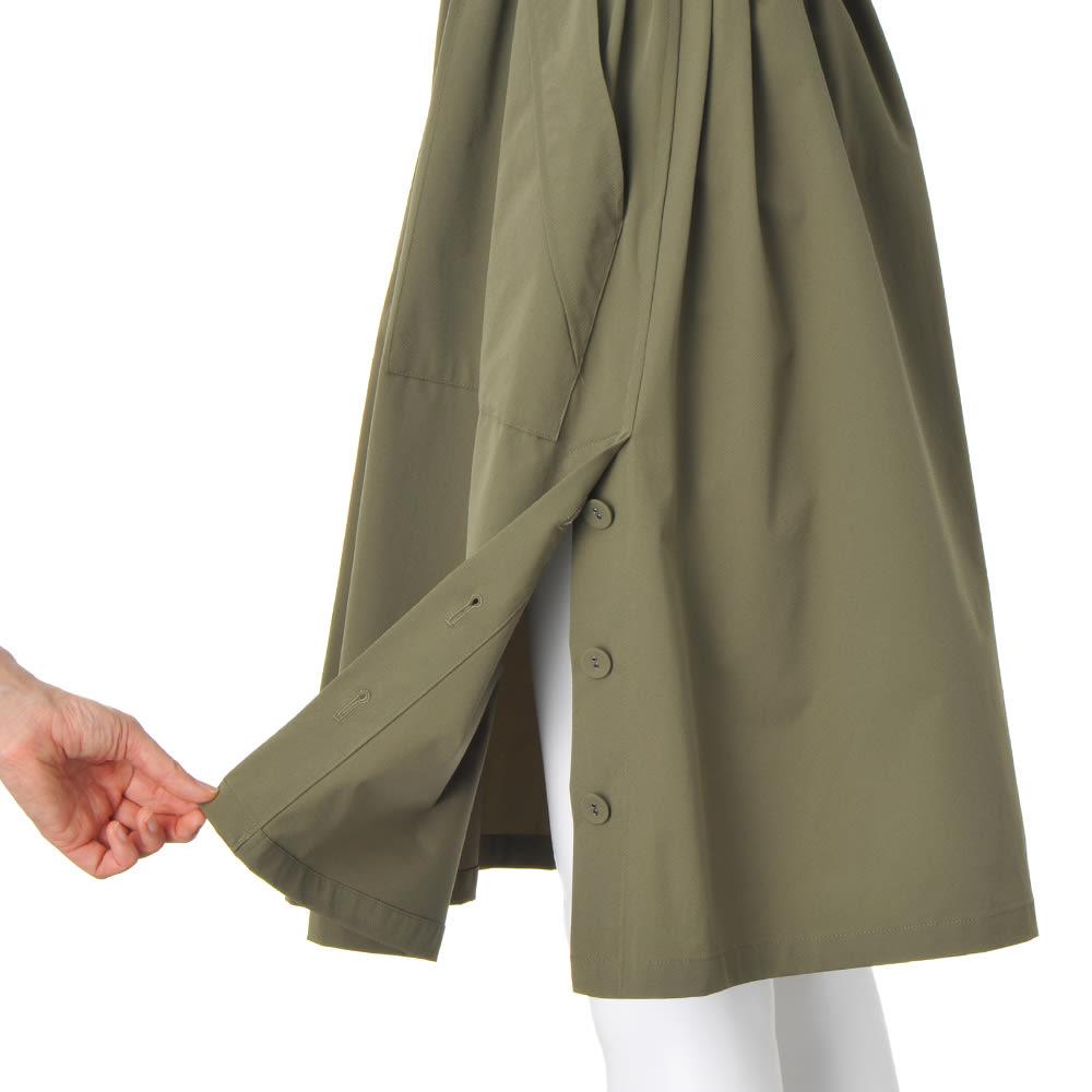 フード収納付き 撥水加工 デザインコート 両脇裾ベント仕様