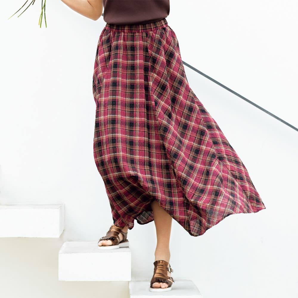 ソメロス社 チェック柄 ロングスカート 着用例