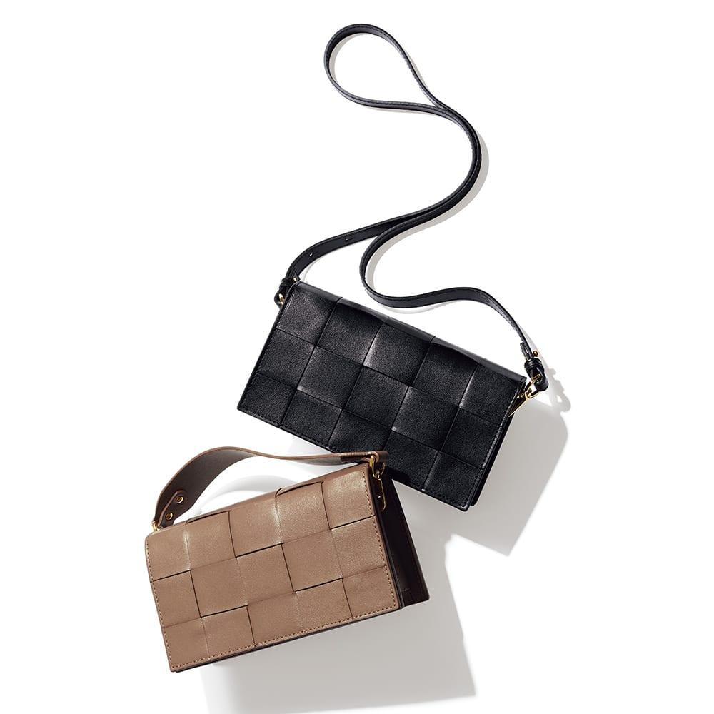 CHRISTIAN VILLA/クリスチャンヴィラ ワイドメッシュ バッグ(イタリア製) 上から (ア)ブラック (イ)グレイッシュブラウン