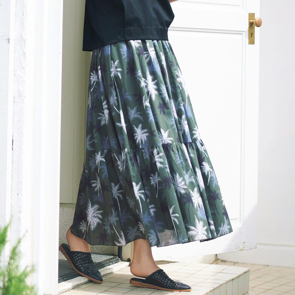 リーフプリント ギャザースカート コーディネート例