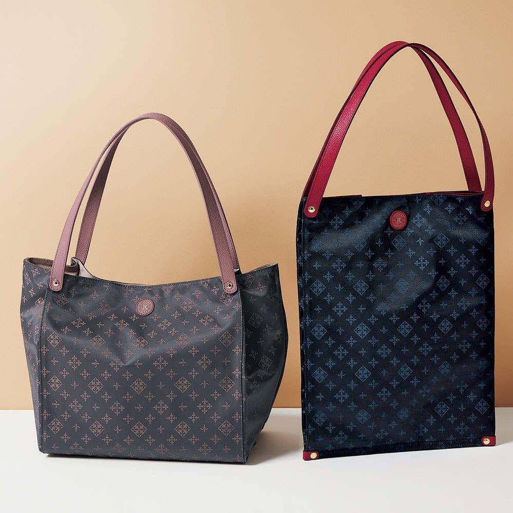 russet/ラシット たためるバッグ 左から(イ)グレー×ピンク (ア)ブラック×ネイビー