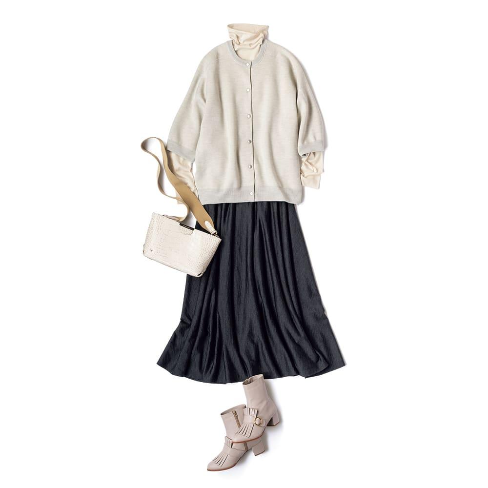 ウールジャージー ロングフレアースカート (イ)チャコールグレー コーディネート例