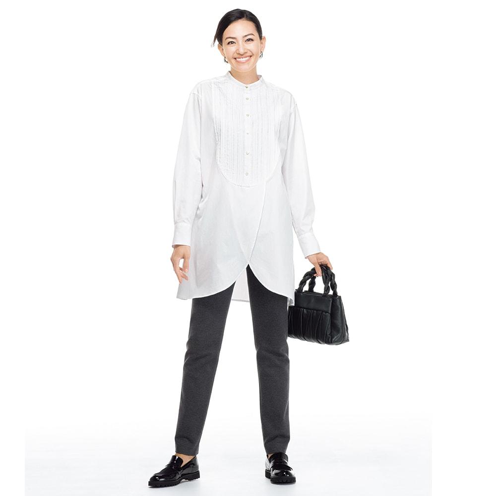 ピンタックブザムデザイン 裾レイヤーシャツチュニック コーディネート例