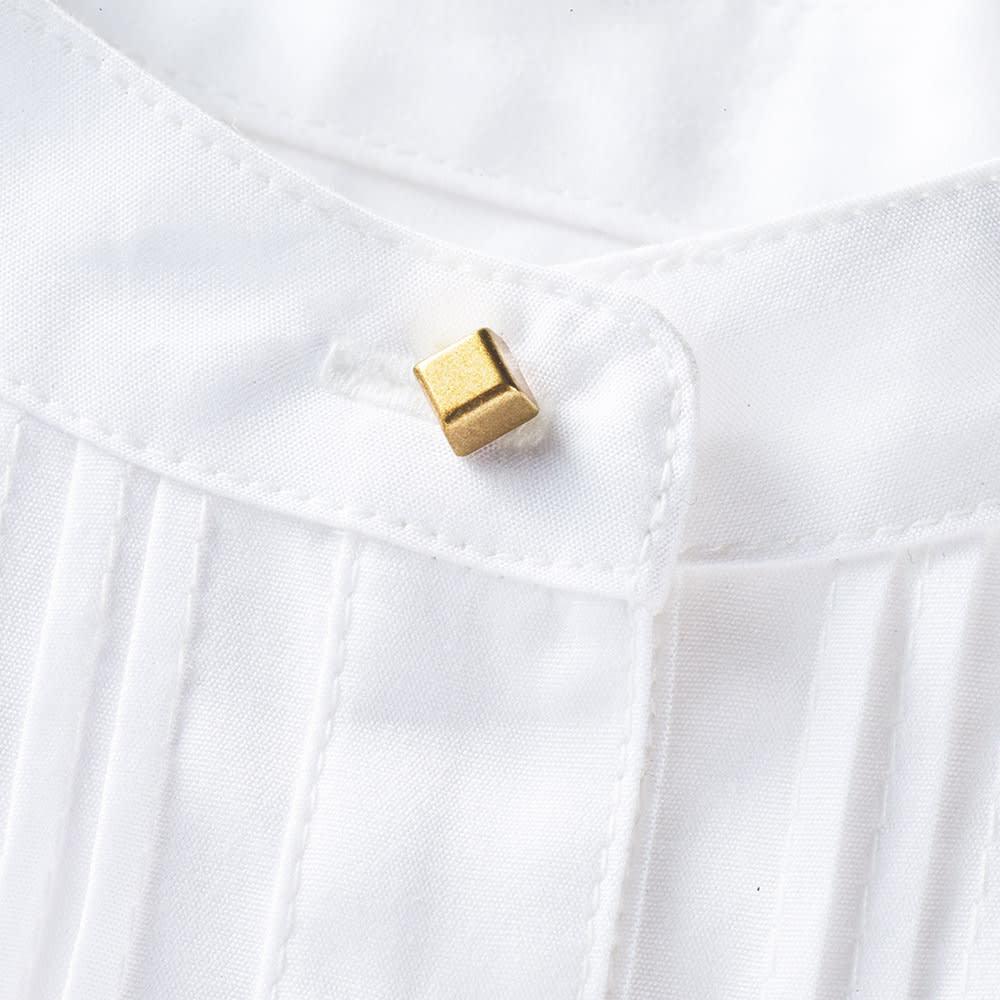 ピンタックブザムデザイン 裾レイヤーシャツチュニック