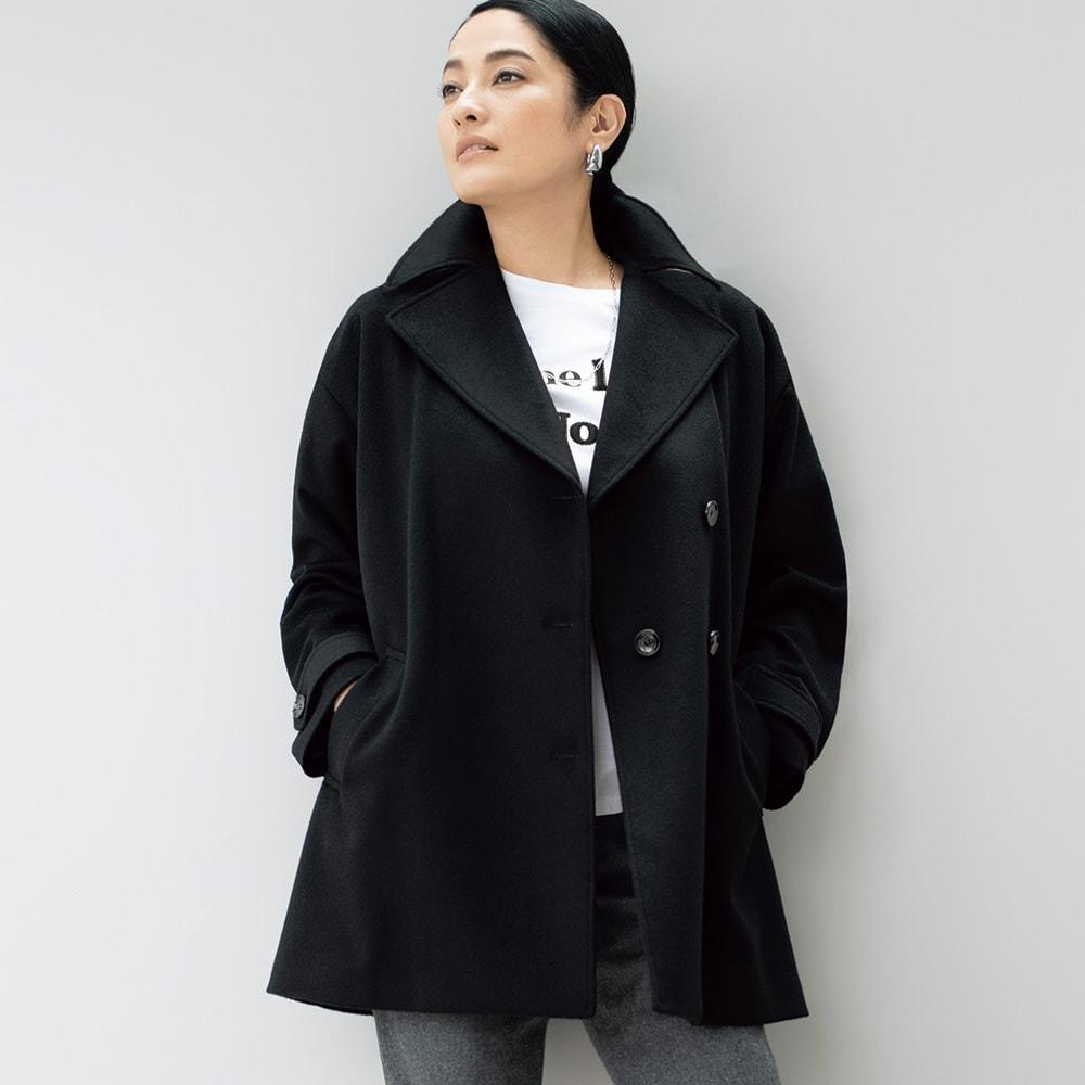 PIACENZA/ピアツェンツァ カシミヤ デザインPコート (ア)ブラック コーディネート例