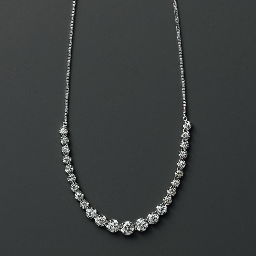 K18WG 1ctダイヤネックレス