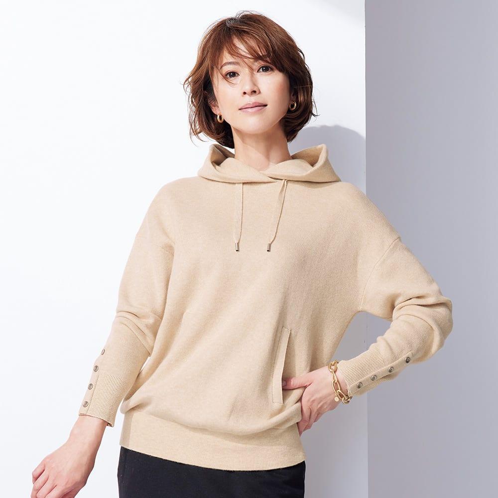 コットンカシミヤ ジャカード編み フード付きプルオーバー レディース モクベージュ 1:S?M~3:3L ニット・セーター