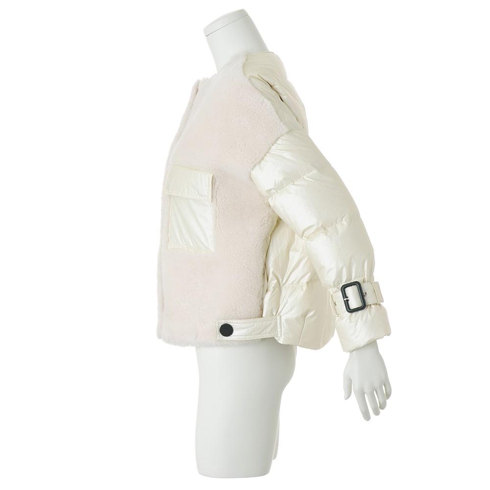 フォックスファー付き ウールボア&ダウンコンビ使い ブルゾン 袖口ベルト付き(取り外し可)