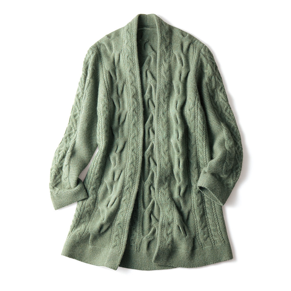 イタリア糸 カシミヤ ケーブル編み コーディガン