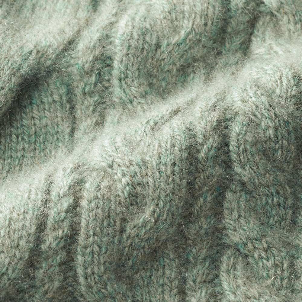 イタリア糸 カシミヤ ケーブル編み コーディガン 生地アップ