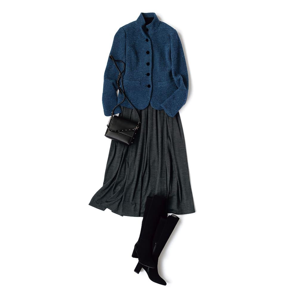 ウールジャージー フレアースカート コーディネート例