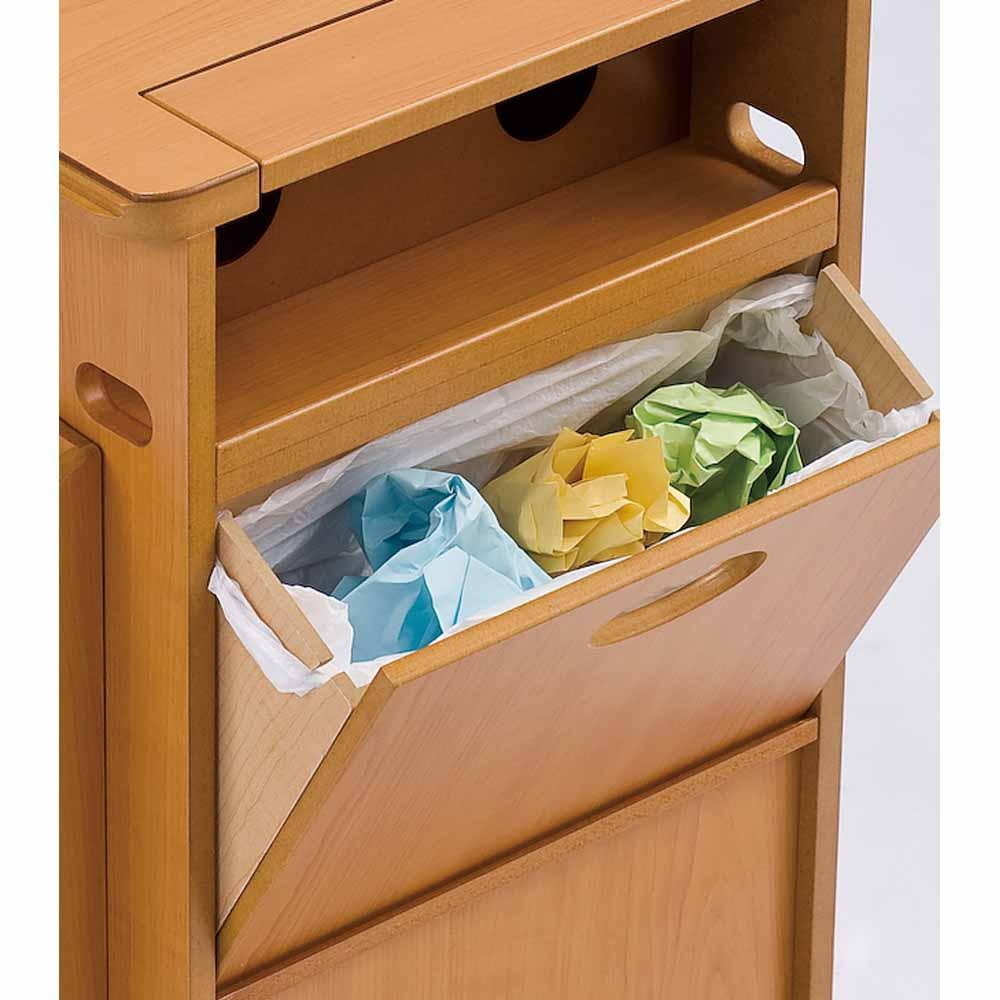 多機能ソファサイドリビングワゴンテーブル レジ袋が掛けられる溝付きフラップ式ゴミ箱。