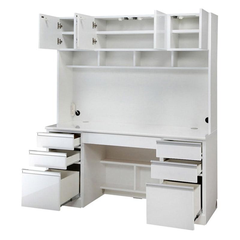 あこがれの書斎スペースを現実にする壁面収納 デスク上棚付き 両引き出し (ア)ホワイト