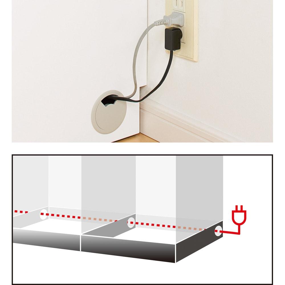 あこがれの書斎スペースを現実にする壁面収納 デスク上棚付き 両引き出し コードすっきり配線孔 アイテム間をつなぐ側面配線孔。コード類を露出させずコンセントへ、壁面にぴったり設置可能です。