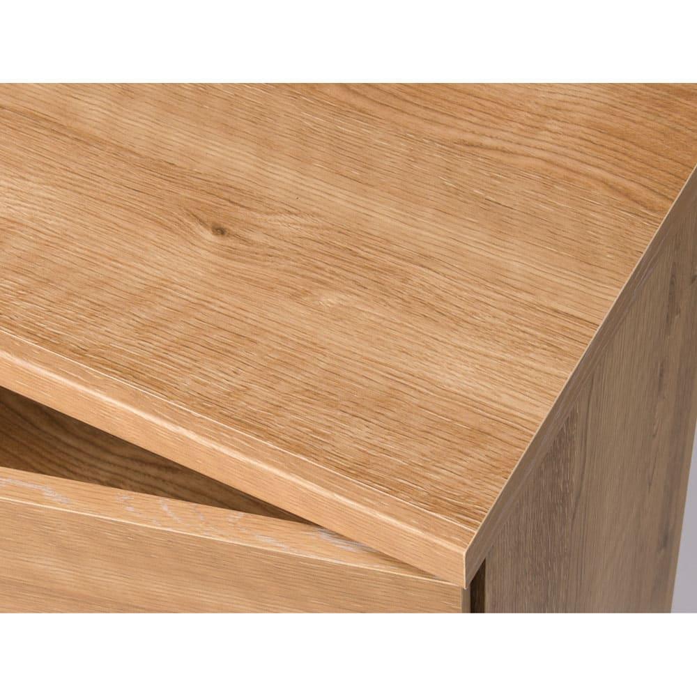 天然木調テレビ台ハイバックシリーズ 扉キャビネット・幅45.5奥行34.5cm 天板にも木目シートを施しています。