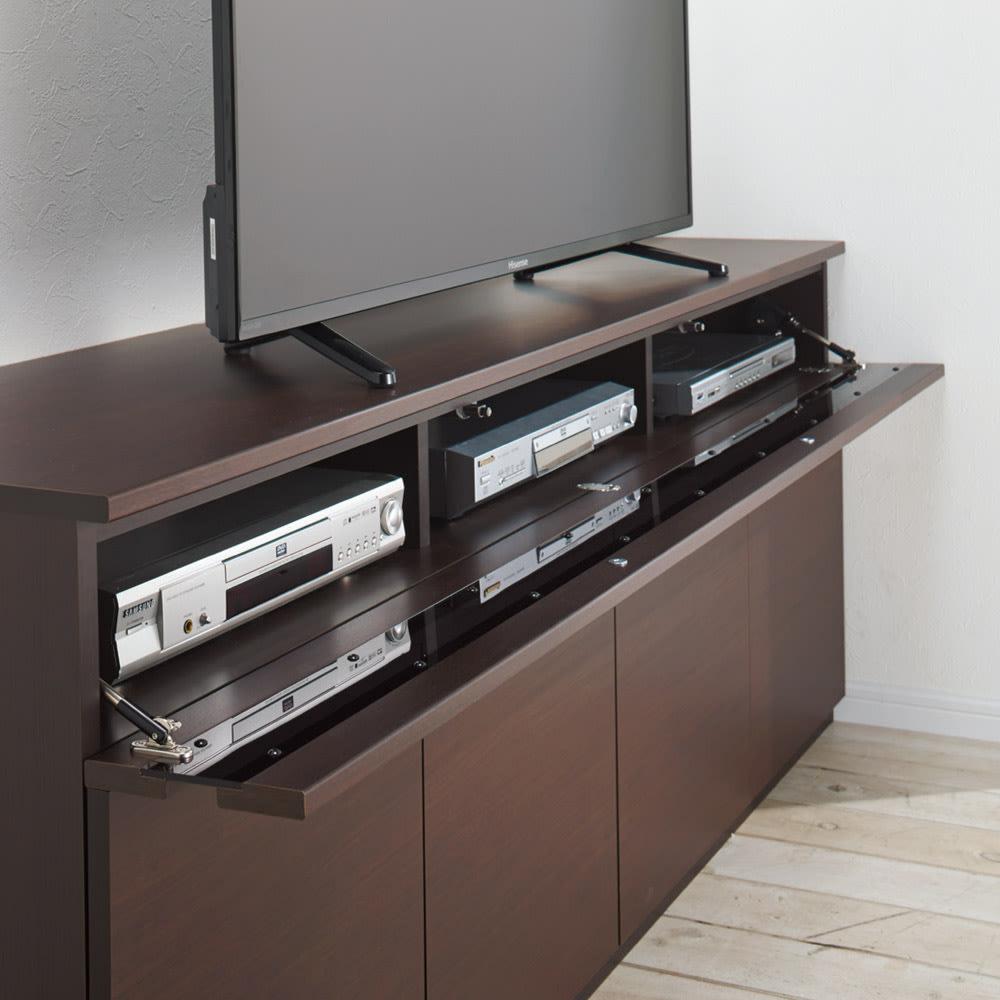 ラインスタイルハイタイプテレビ台シリーズ テレビ台・幅150cm フラップ扉はバタンと倒れない仕様。