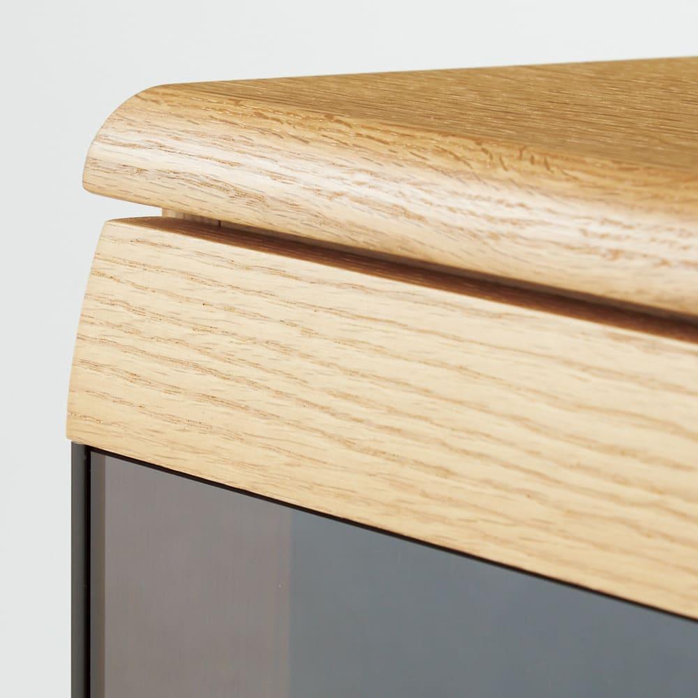 オーク材アールデザインリビングシリーズ テレビ台ハイ 幅150cm 高級感とやさしい印象を感じさせるアール加工。