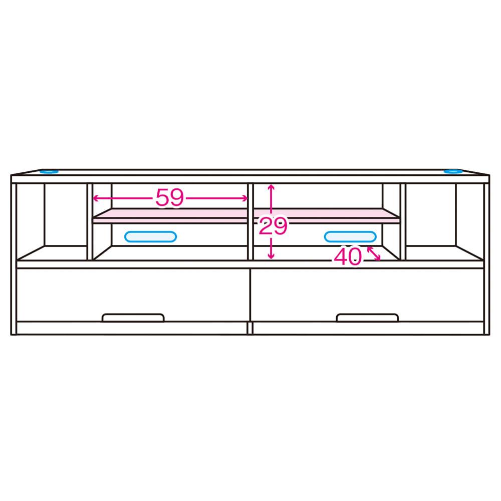 ソファや椅子からも見やすい高さ60cmの テレビ台 幅180cm 内寸図 ※赤文字は内寸(単位:cm)※青色部分はコード穴 ※ピンク色は可動棚板(棚板奥行35)3cm間隔3段階可動