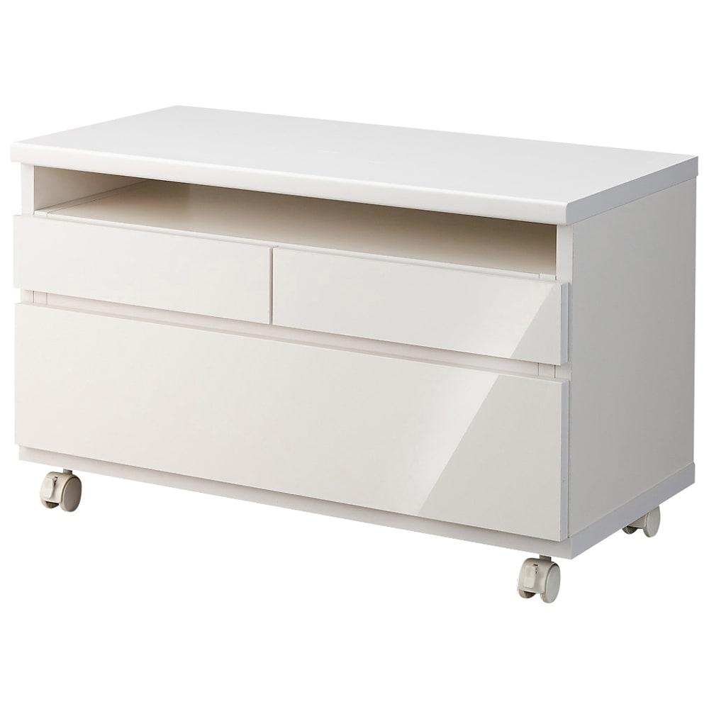 高さも角度も調整できるキャスター付きテレビ台 幅75cm (ア)ホワイト