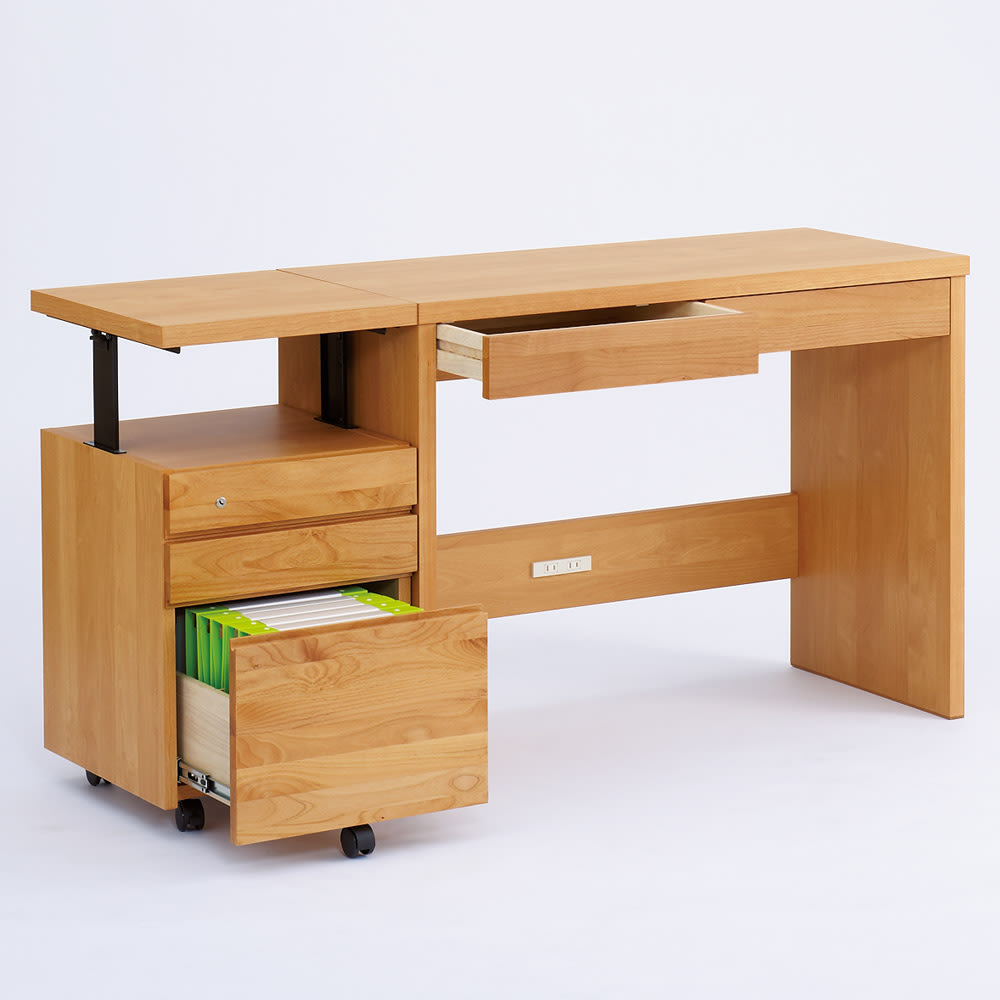 アルダー天然木ユニットボード 天板昇降式デスクチェスト デスクチェストは昇降式。デスク(別売り)の高さと合わせれば、広い作業面を確保できます。