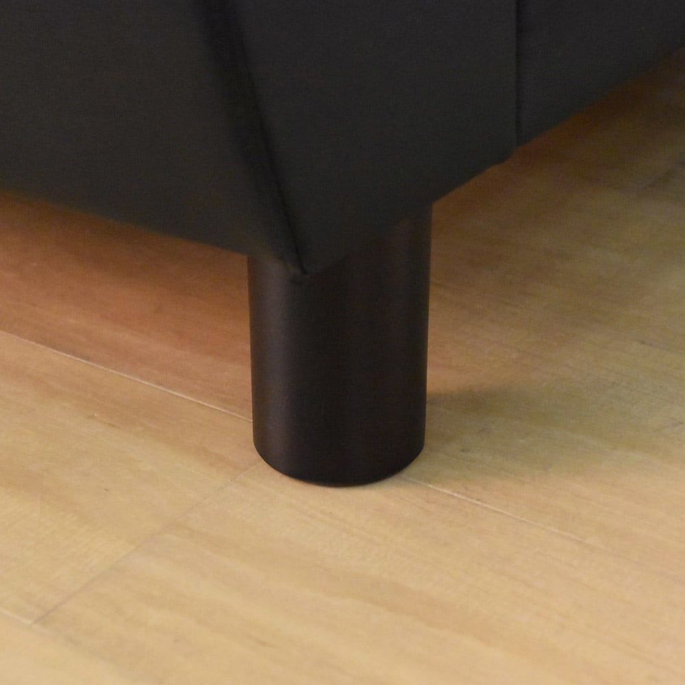 シンプルモダンソファ 3人掛け 脚は柔らかみのある丸いデザイン。(ブラック)