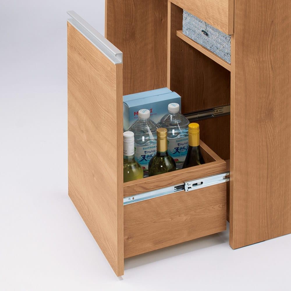 人工大理石天板 薄型オープンハイカウンター 幅100cm 背の高いボトル類も入る下段の深引き出し。内部には3cm間隔3段階の可動棚付き。