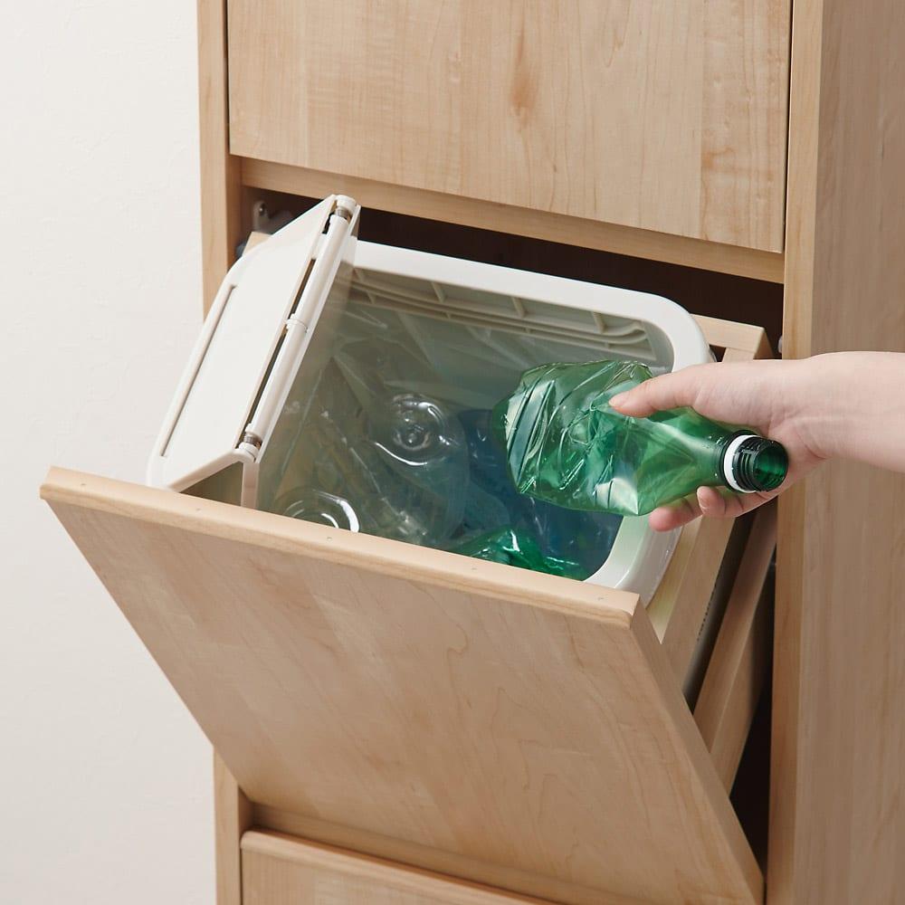 静かに閉まる家具調 分別タワーダストボックス 2分別 ビン類やペットボトルなど、省スペースで多分別が実現!
