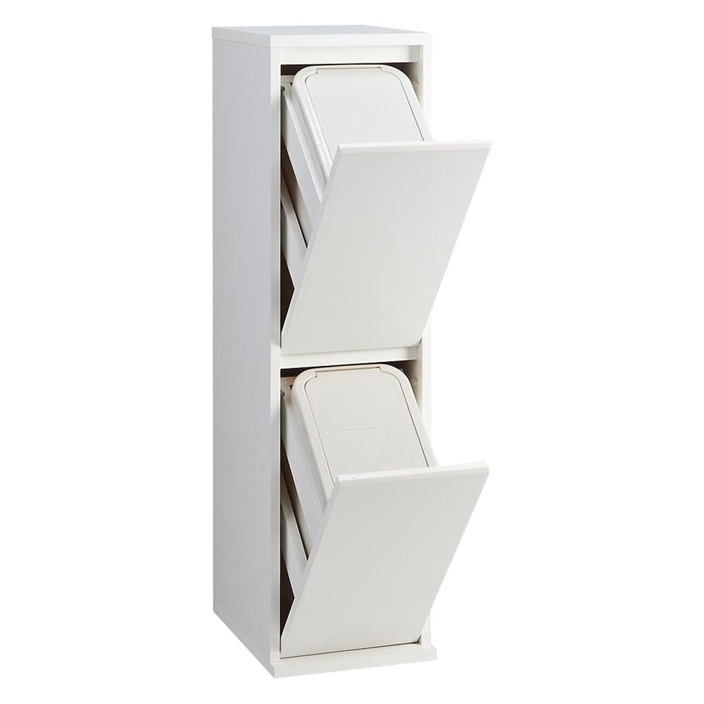 静かに閉まる家具調 分別タワーダストボックス 2分別 (イ)ホワイト