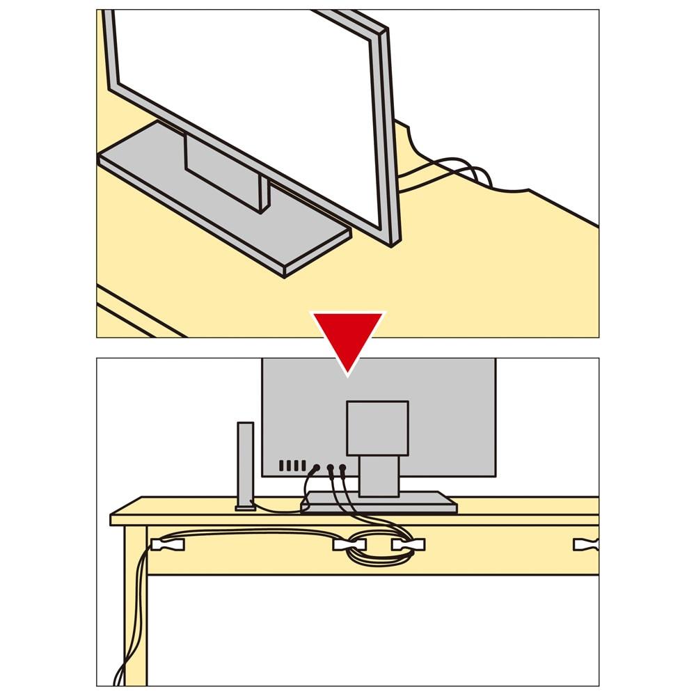 タモ天然木 スマート配線 無垢材頑丈デスクシリーズ デスク・幅95cm コードは天板から背面のフック、脚部へと通せて外観スッキリ。