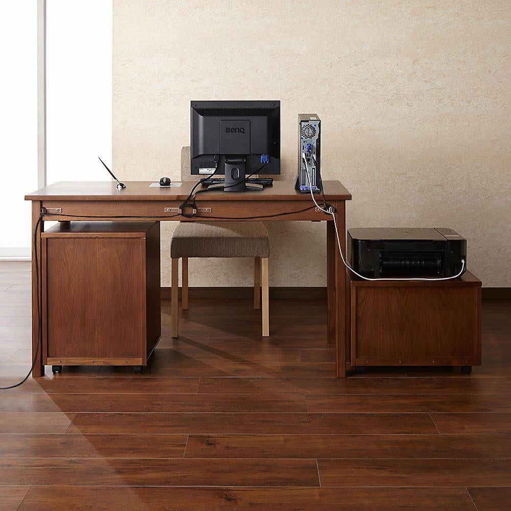 タモ天然木 スマート配線 無垢材頑丈デスクシリーズ デスク・幅95cm