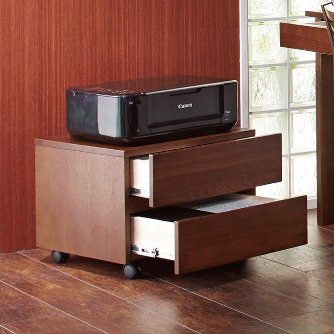 タモ天然木 スマート配線 無垢材頑丈デスクシリーズ プリンターワゴン