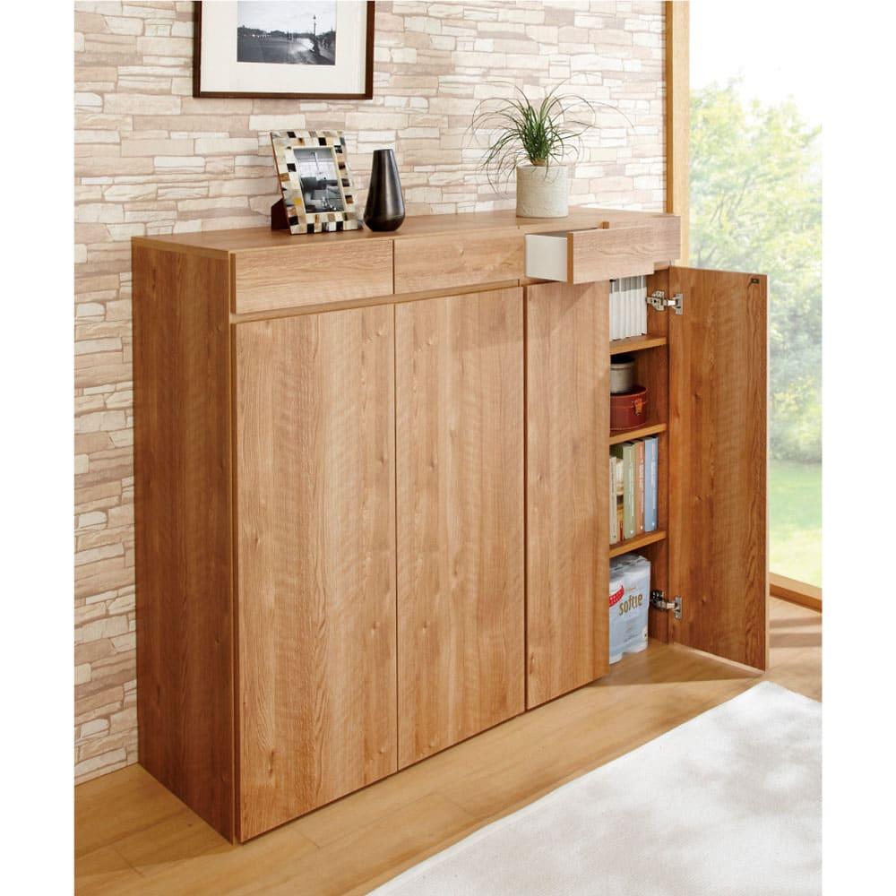 天然木調 掃除機もしまえる本棚 幅60本体高さ120cm 使用イメージ(ア)ブラウン