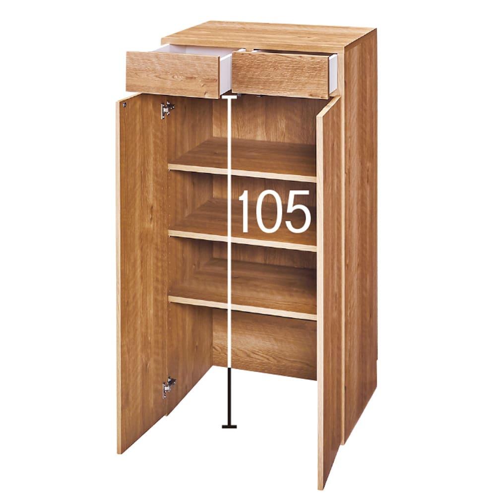天然木調 掃除機もしまえる本棚 幅60本体高さ120cm (ア)ブラウン
